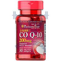Puritan's Pride Q-SORB™ Co Q-10 200 mg для сердца и сосудов антиоксидант коэнзим ку10 против старения