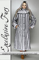 Женская шуба из искусственной норки, светло-серый цвет №34