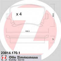 Тормозные колодки задние ZIMMERMANN для Superb 1.8TSI, 2.0TDI