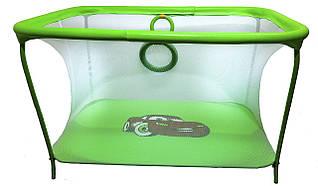 Манеж детский игровой KinderBox люкс Салатовый тачки с мелкой сеткой (km 56)