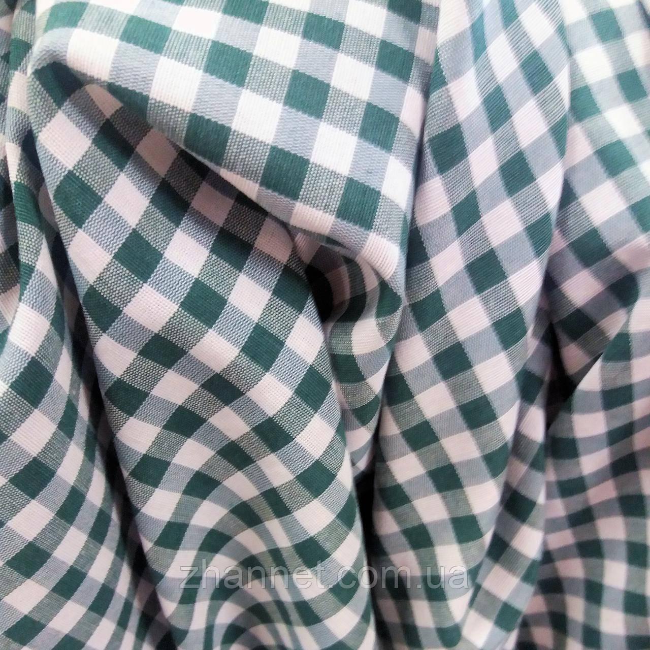 Ткань для скатерти в клетку Пепита зеленый