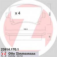 Тормозные колодки задние ZIMMERMANN для Skoda Yeti 1.8TSI