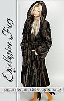 Женская шуба из искусственной норки, коричневый цвет №29