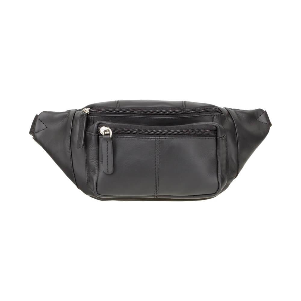 Кожаная черная сумка на пояс 720-BLK