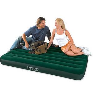 Надувной матрас Intex 66929 со встроенным ножным насосом / Зеленый