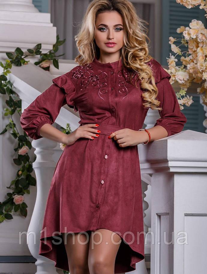 Замшевое женское платье с удлиненной спинкой (2596-2594-2595 svt)