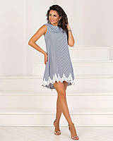 Летнее платье в полоску с кружевом 16- 7876, фото 1