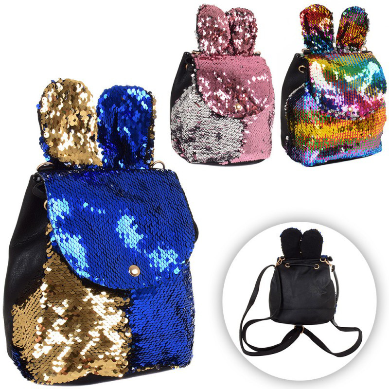 Рюкзак пайетки ушки, размер 19-20-14 см, 3 цвета,  601
