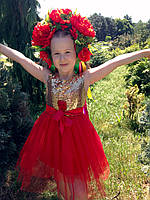 Нарядное платье для девочки алое с золотом