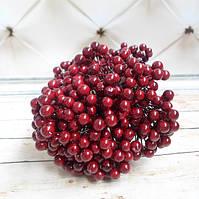Ягоды для декора, калина , 7-8 мм, цвет бордовый , 40шт