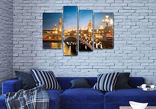 Модульная картина Фонари на мосту, на ПВХ ткани, 65x85 см, (40x20-2/65х18/50x18), фото 3