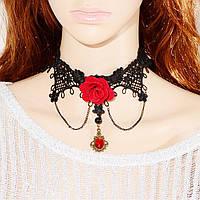Ажурное, кружевное ожерелье, чоккер с красным цветком и подвеской