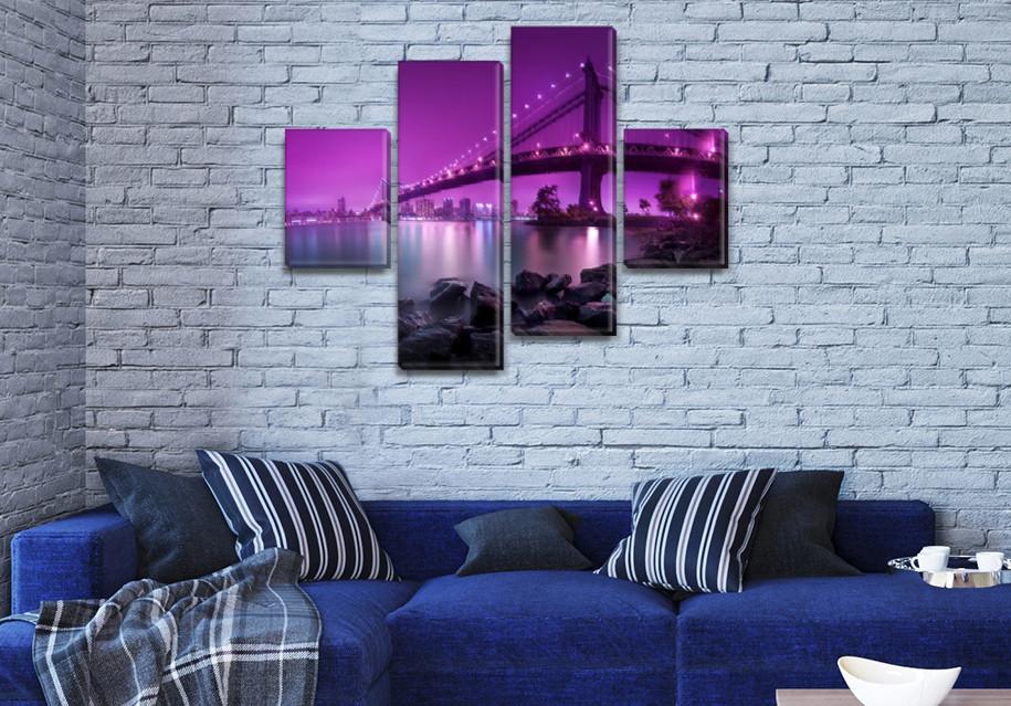 Модульные триптих картины, на ПВХ ткани, 65x80 см, (25x18-2/55х18-2)