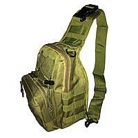 Однолямочный тактический рюкзак черный и зеленый, фото 1