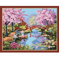 "Картина по номерам ""Сад цветущей сакуры"" 40х50 см."
