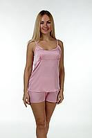 Шелковая пижама шорты + майка Пр08х Розовый