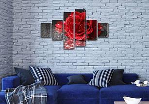 Модульная картина Роза на черном, 70x120 см, (25x18-2/35х18-2/65x18-2), фото 3