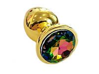 Золотая анальная пробка с кристаллом 4 см х 9,5 см Многоцвет, фото 1