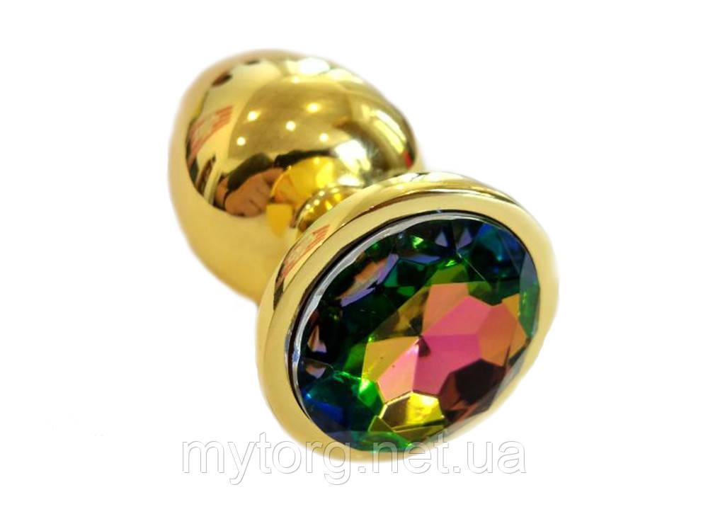 Золотая анальная пробка с кристаллом 4 см х 9,5 см Многоцвет