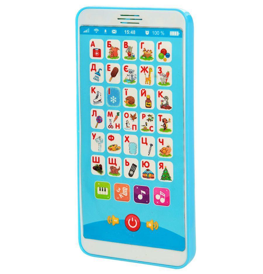 Детский телефон, смартфончик Цікавий алфавіт, M3674 на украинском языке, голубой
