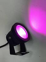 Светодиодный круглый фитопрожектор SL-10-12F 10W 12V IP67 черный (full spectrum led) Код.58927