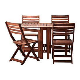 IKEA, APPLARO, Стол+4 складных стула, для сада, коричневый, коричневая морилка (39898445)(S398.984.45) АППЛАРО АПЛАРО ИКЕА