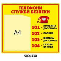 Стенд Телефоны службы безопасности (желтый)