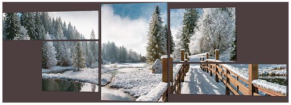 Модульная картина Мост в зимнем лесу