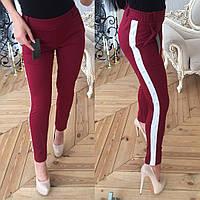Стильные женские брюки из креп-дайвинга с жемчугом