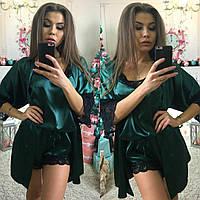 Комплект халат и пижама из атласа