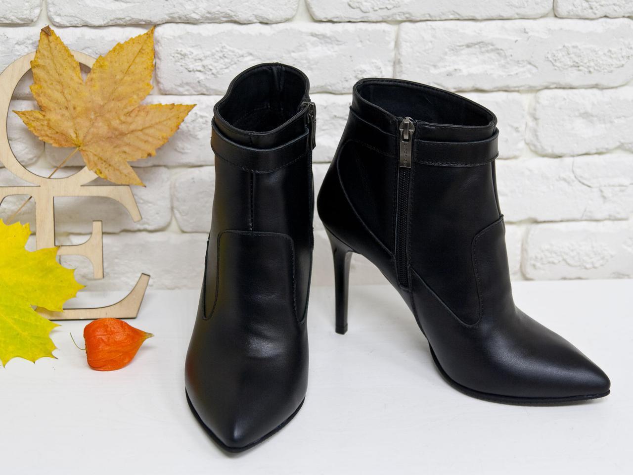 Женские классические кожаные ботинки на шпильке. Размер 36-40