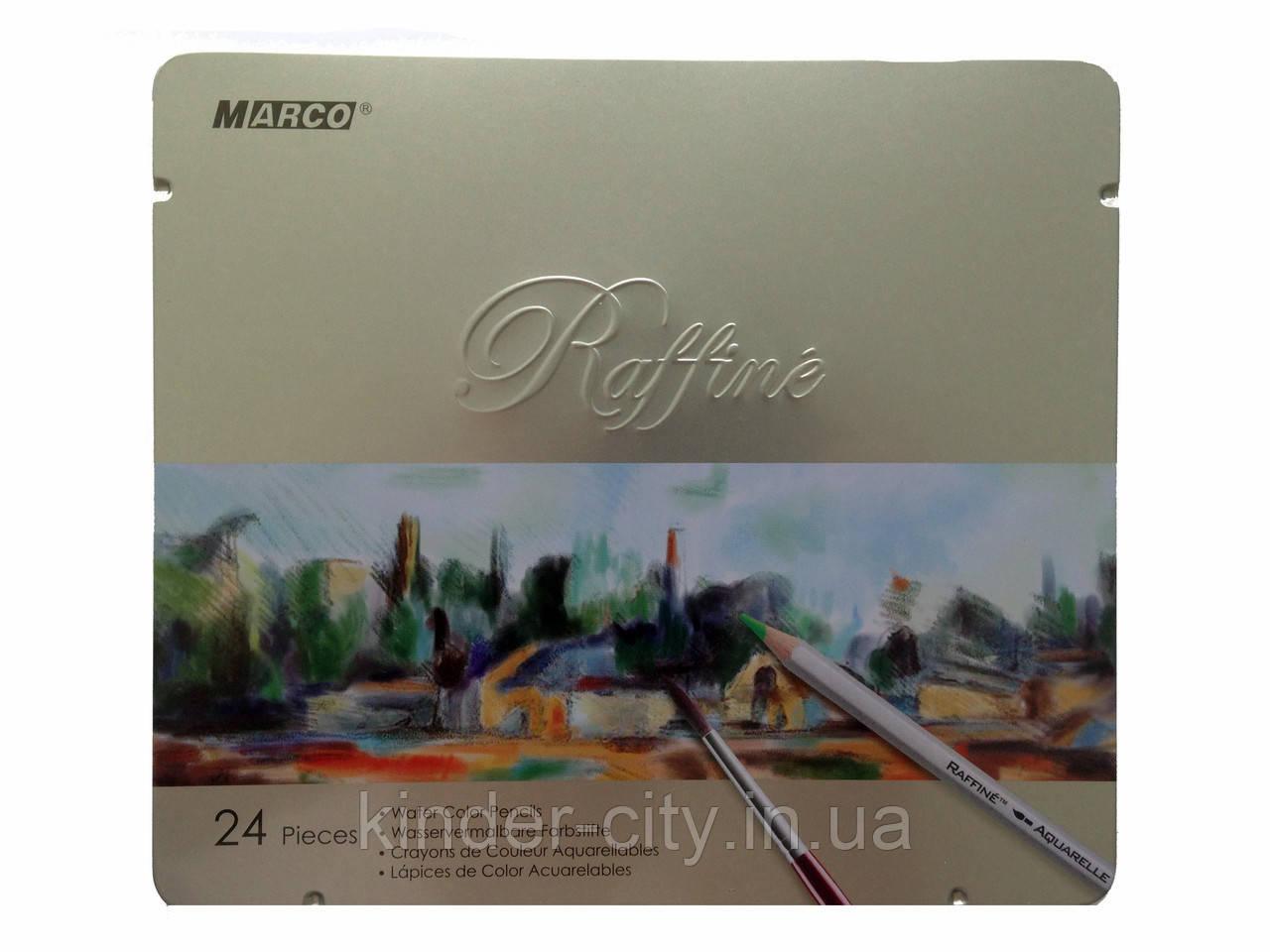 Карандаши Raffine 24 цвета акварельные с кистью в металлическом пенале Marco