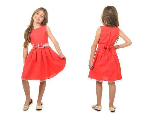 92d0cc25c25 Летнее детское льняное платье с бантиком на талии   2 цвета арт 6090-582 -