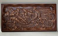 Резьба по камню Гравюра «Охотники на отдыхе» (400х200х20), фото 1