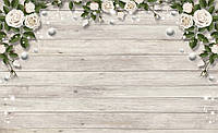 Купить фотообои под заказ розы 3D на стену : Деревяные доски и арка из роз CN3673