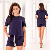 5b680976a8d Костюм женский из льна с шортами и прозрачной вставкой на блузке (К23527)