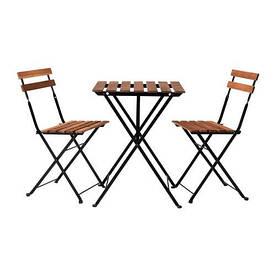 IKEA, TARNO, Стол+2 стула, для сада, акация, черный, серо-коричневая морилка, сталь (69898415)(S698.984.15) ТАРНО ИКЕА