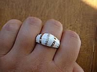 Серебряное кольцо с золотой пластинкой и белой эмалью, фото 1
