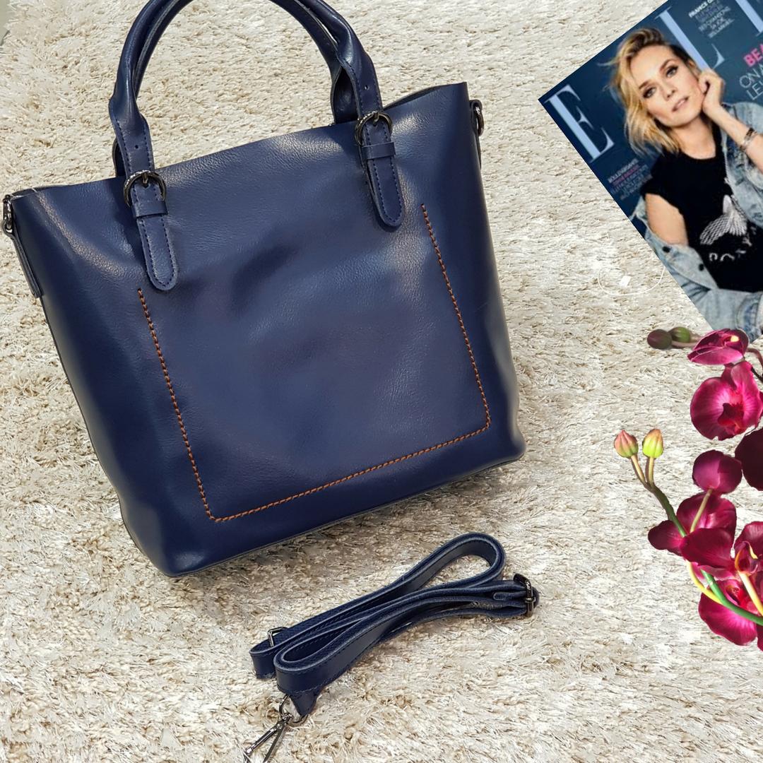 Жіноча синя сумочка з натуральної шкіри