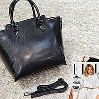 Жіноча чорна сумочка з натуральної шкіри, фото 1