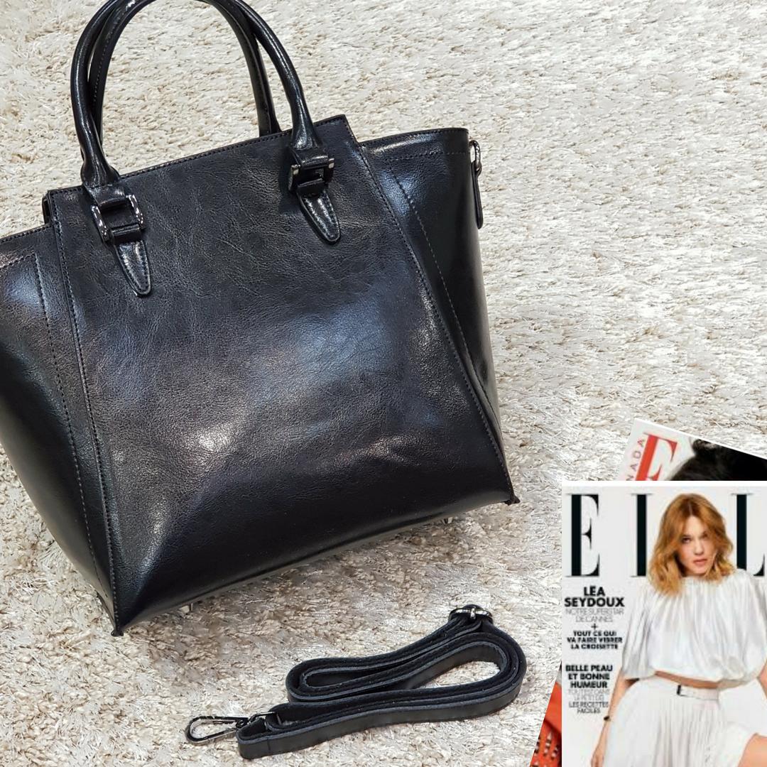 Жіноча чорна сумочка з натуральної шкіри