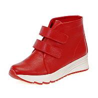 Женские красные ботинки весенне осенние из натуральной кожи