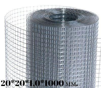 Сетка сварная оцинкованная 20*20*1,0*1000(30м.)