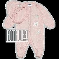 Нарядный человечек (комплект) для выписки р. 56 тонкий на лето новорожденному ткань КУЛИР-ПИНЬЕ 4207 Розовый А