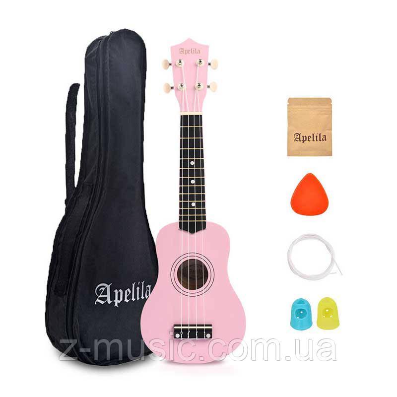 Укулеле Сопрано Apelila Rose (Чехол+Комплект струн+Медиатор+2 наконечника на пальцы)