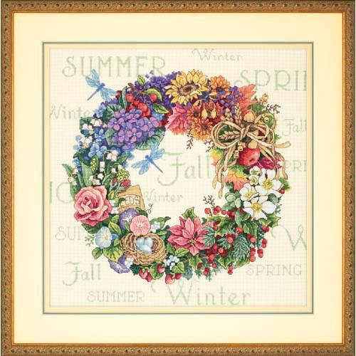 Набор для вышивания крестом Венок всех времён года/Wreath of All Seasons DIMENSIONS Gold Collection 35040