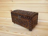 Шикарная деревянная шкатулка (сундучок) с резным орнаментом 9х18 см для украшений
