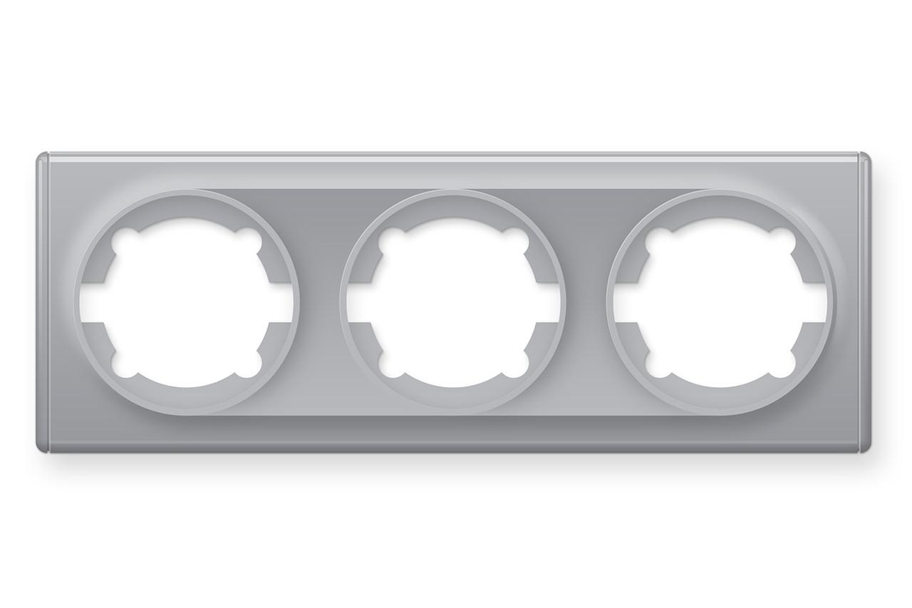 Рамка потрійна, колір сірий (серія Florence)