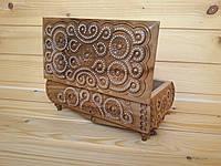 Инкрустированная бисером деревянная шкатулка с резным орнаментом 11х21 см для украшений