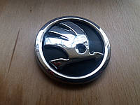 Эмблемa на капот багажник Skoda Yeti А5 Super-В Fabia Rumster Rapid диаметр 80мм.NEW Хром